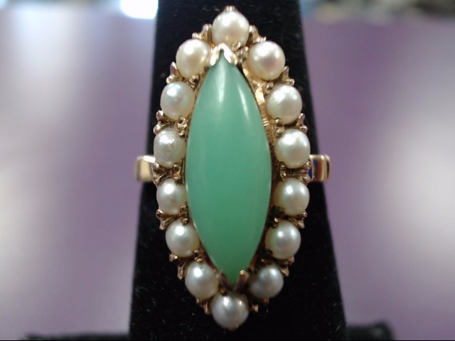 14K Yellow Gold Vintage Inspired Marquise Jade & Pearl Filigree Cocktail Ring