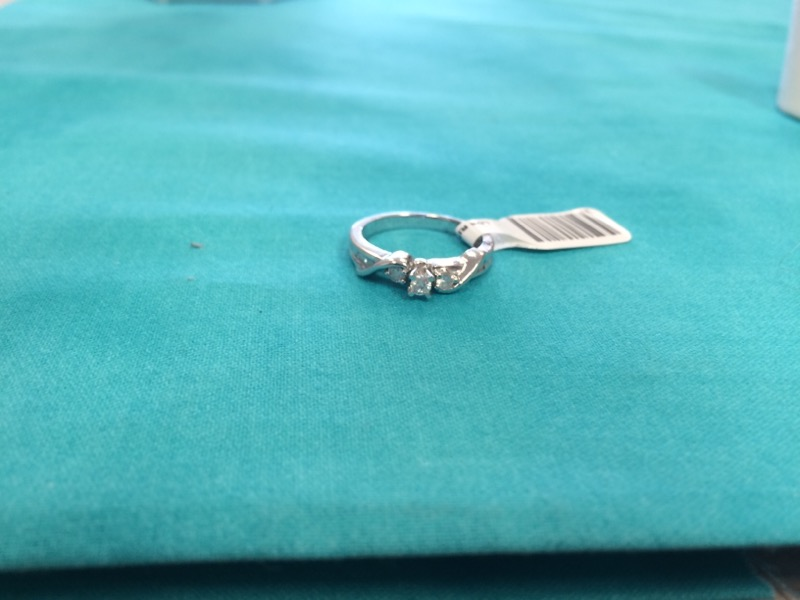 Lady's Diamond Engagement Ring 3 Diamonds .75 Carat T.W. 10K White Gold 1.9dwt