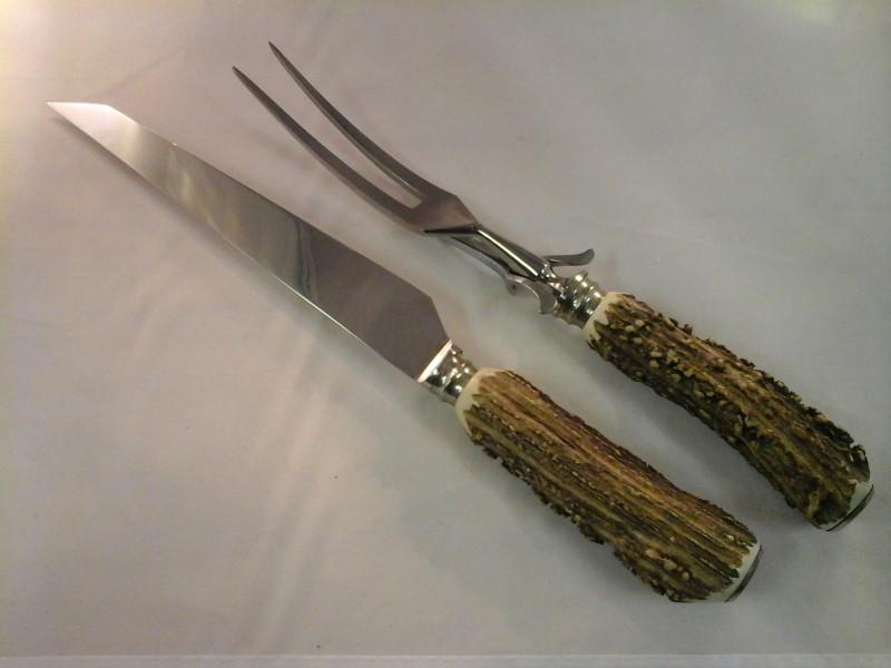 ANTON WINGEN 3 PIECE KNIFE, FORK, SHARPENER SET