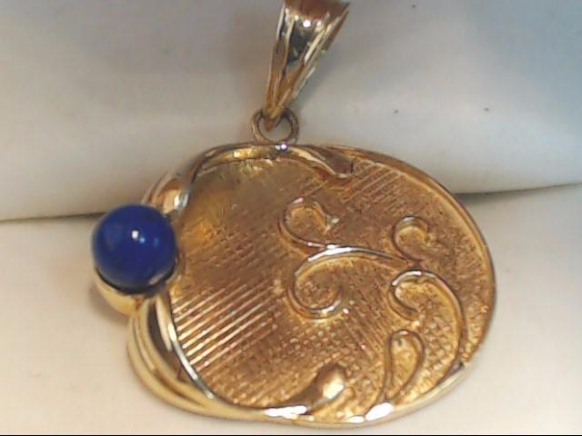 Blue Stone Gold-Stone Pendant 14K Yellow Gold 3g