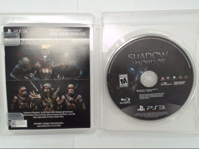PS3 MIDDLE EARTH SHADOW OF MORDOR GAME