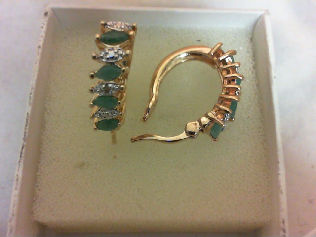 Emerald Gold-Stone Earrings 14K Yellow Gold 3.9g