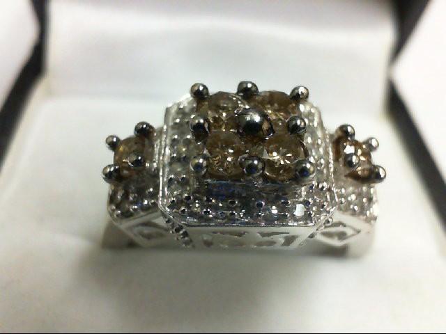 Lady's Diamond Cluster Ring 38 Diamonds 1.00 Carat T.W. 10K White Gold 4.7g