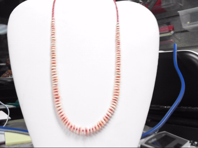 """20"""" Coral & Pucca Shell Sterling Silver .925 Necklace"""