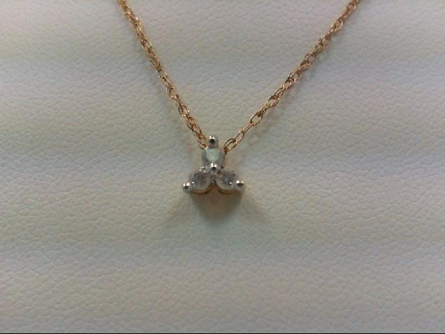 Gold-Multi-Diamond Pendant 3 Diamonds 0.12 Carat T.W. 10K Yellow Gold 1.2g