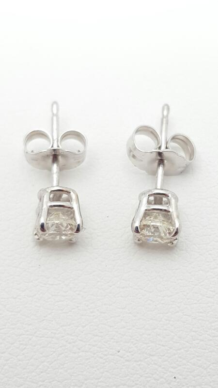 Gold-Diamond Earrings 2 Diamonds .60 Carat T.W. 14K White Gold 0.8g