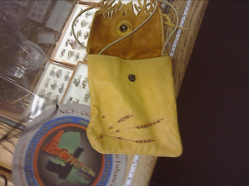 HANDMADE LEATHER POUCH WITH EMBOSSED WHEAT