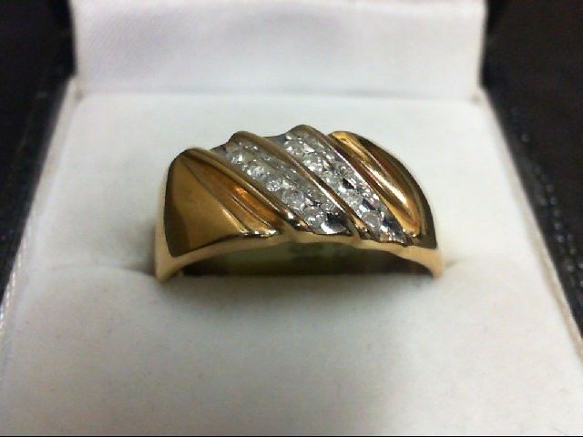 Gent's Gold-Diamond Wedding Band 10 Diamonds 0.1 Carat T.W. 10K Yellow Gold 3.8g