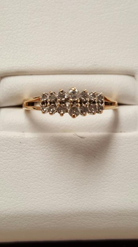 Lady's Diamond Fashion Ring 14 Diamonds .34 Carat T.W. 14K Yellow Gold 1.3dwt