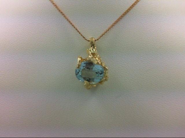 Aquamarine Gold-Stone Pendant 14K Yellow Gold 4.6g