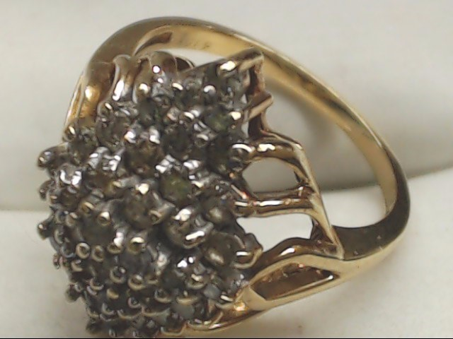 Lady's Diamond Cluster Ring 31 Diamonds .93 Carat T.W. 10K Yellow Gold 3.8g