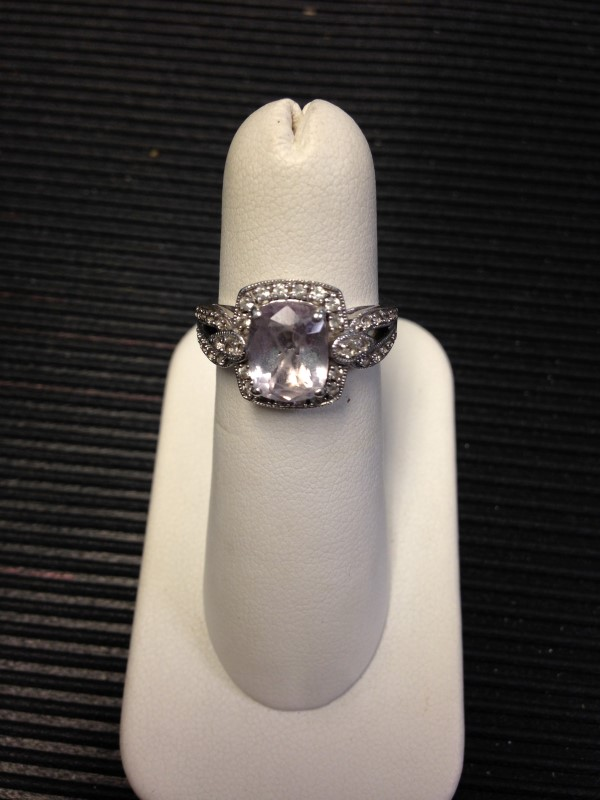 Synthetic Amethyst Lady's Silver & Stone Ring 925 Silver 3.73g