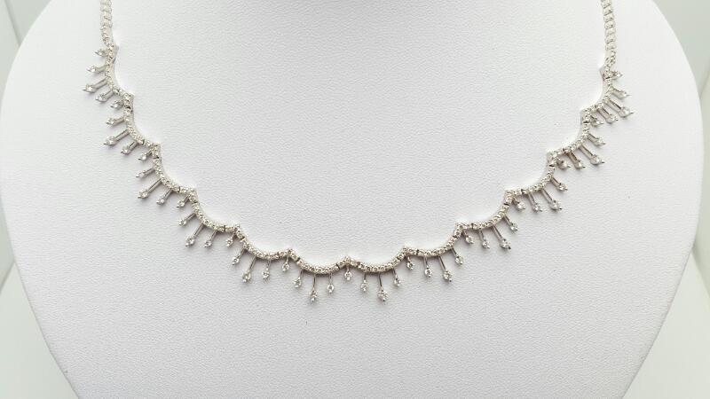 Diamond Necklace 166 Diamonds 3.16 Carat T.W. 14K White Gold 19.9g