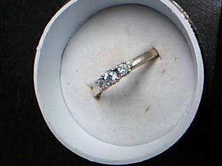 Lady's Diamond Cluster Ring 3 Diamonds .29 Carat T.W. 14K Yellow Gold 2.23g