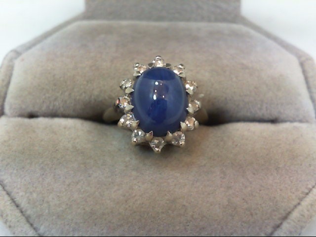 Synthetic Star Sapphire Lady's Stone & Diamond Ring 12 Diamonds .36 Carat T.W.