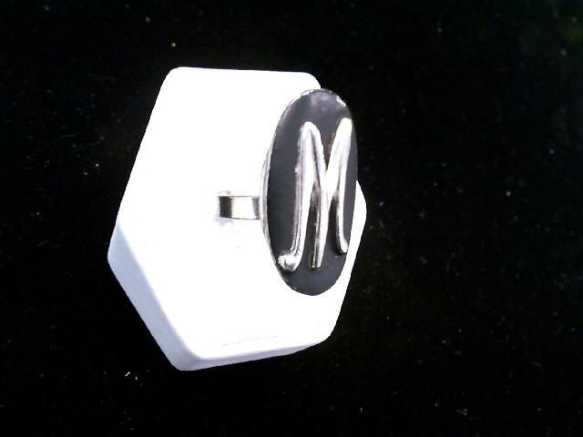 "Vintage Ladies Silver Toned Black ""M"" Adjustable Fit Fashion Ring"
