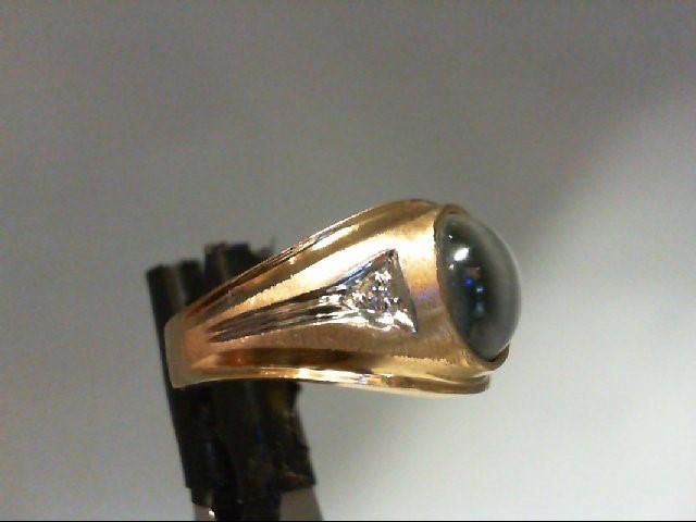 Synthetic Brown Stone Gent's Stone & Diamond Ring 2 Diamonds 0.02 Carat T.W. 10K