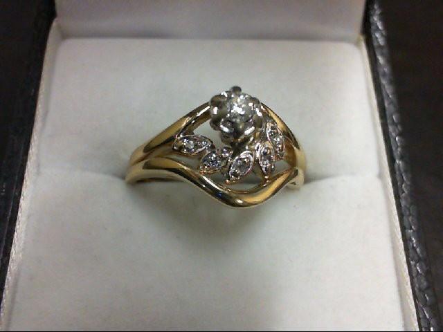 Lady's Diamond Wedding Set 0.07 CT. 14K Yellow Gold 4g