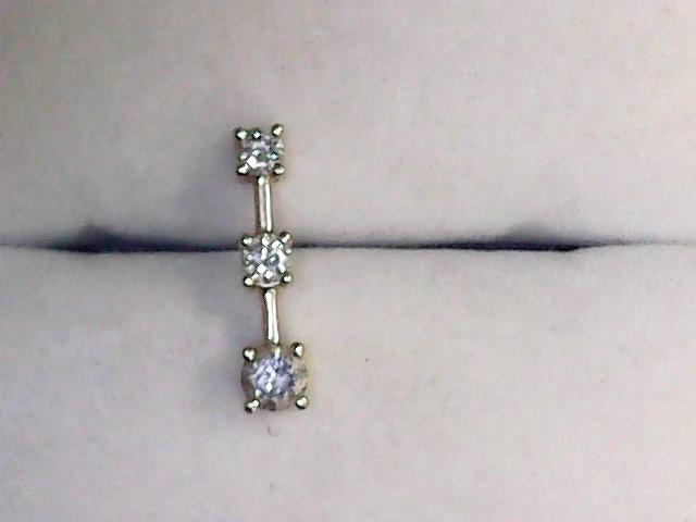 Gold-Multi-Diamond Pendant 3 Diamonds .45 Carat T.W. 14K Yellow Gold 0.9dwt