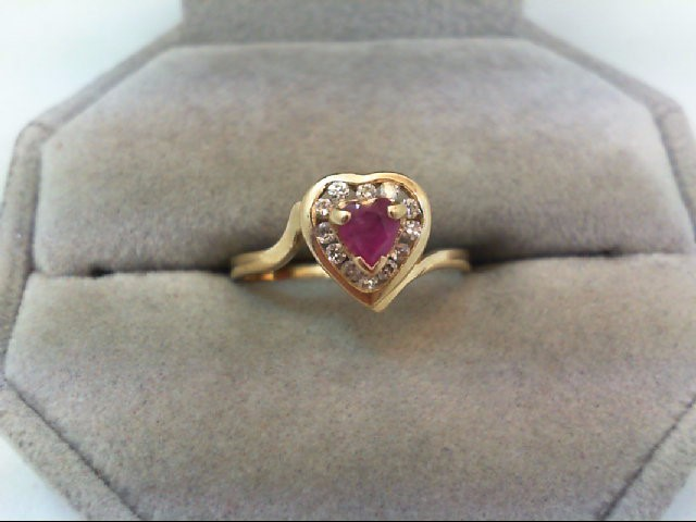 Ruby Lady's Stone & Diamond Ring 12 Diamonds .24 Carat T.W. 14K Yellow Gold