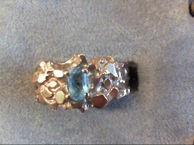 Synthetic Aquamarine Gent's Stone Ring 10K Yellow Gold 4.1g