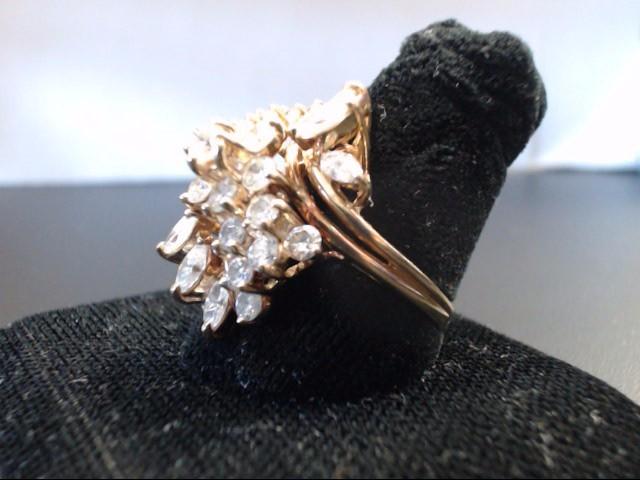 Lady's Diamond Cluster Ring 27 Diamonds 2.64 Carat T.W. 14K Yellow Gold 8.27g