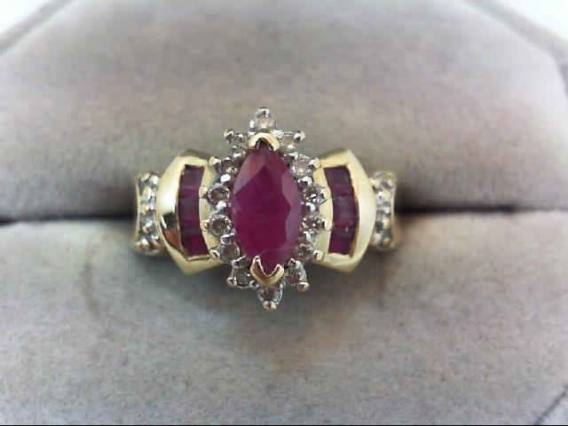 Ruby Lady's Stone & Diamond Ring 14 Diamonds .14 Carat T.W. 14K Yellow Gold