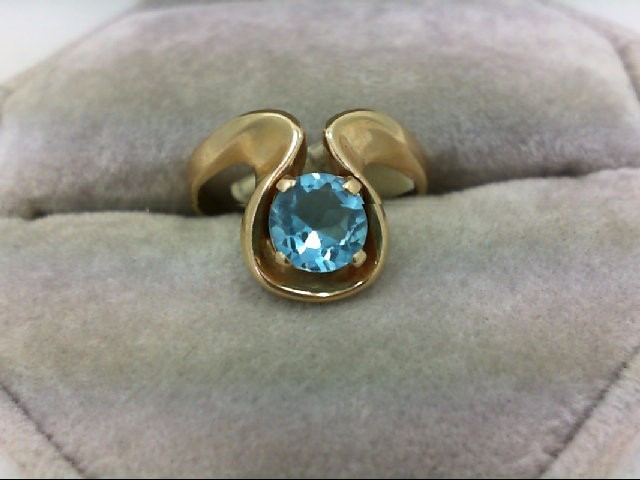 Blue Topaz Lady's Stone Ring 14K Yellow Gold 3.1g
