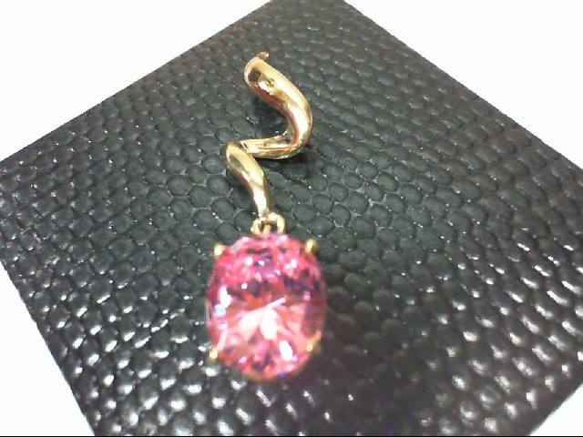 Synthetic Pink Stone Gold-Stone Pendant 14K Yellow Gold 2.2g