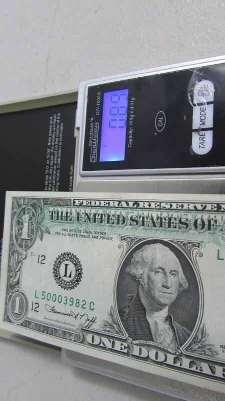 1  dollar bill partial offset, 1974