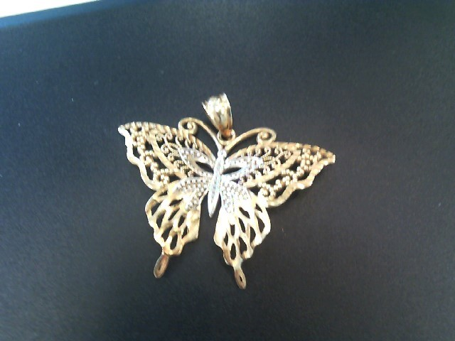 Beautifully Detailed 14K Yellow & White Gold Butterfly Charm Pendant 2.15 Grams