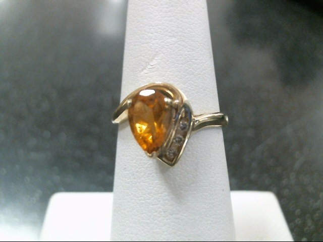 Synthetic Olive Tourmaline Lady's Stone & Diamond Ring