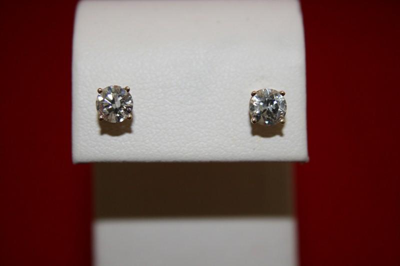 Gold-Diamond Earrings 2 Diamonds .90 Carat T.W. 14K Yellow Gold 0.8g