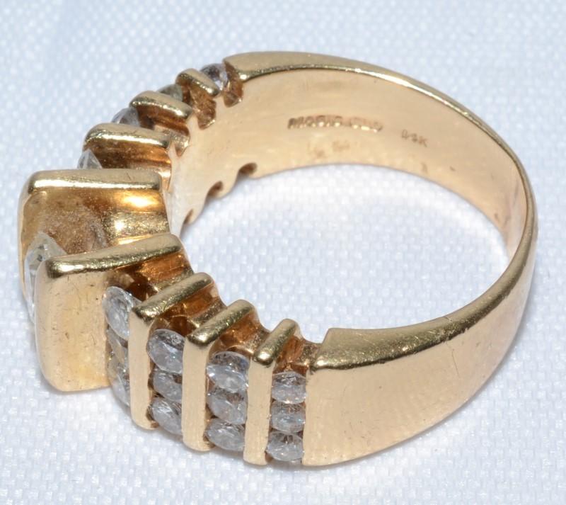 14K Yellow Gold Vintage Inspired Bar Set Chunky Diamond Statement Ring Size 6.5