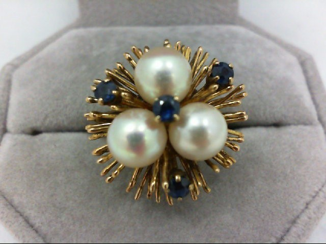 Pearl Lady's Stone Ring 18K Yellow Gold 6.9g Size:6.5