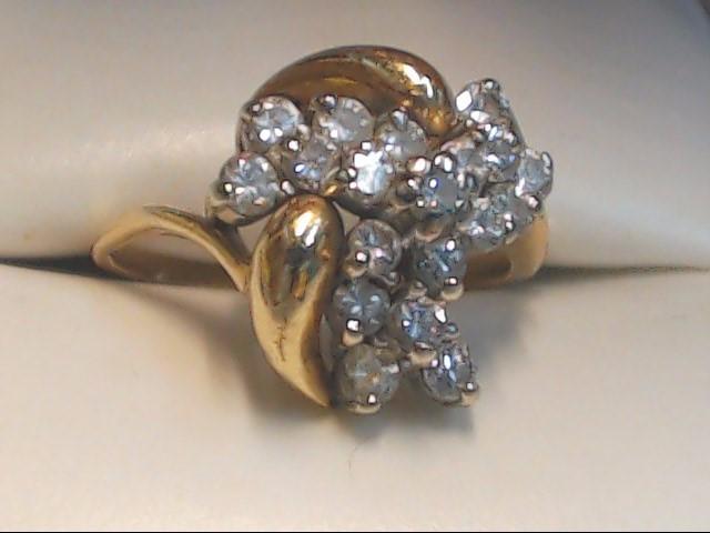 Lady's Diamond Cluster Ring 19 Diamonds .95 Carat T.W. 10K Yellow Gold 3.7g