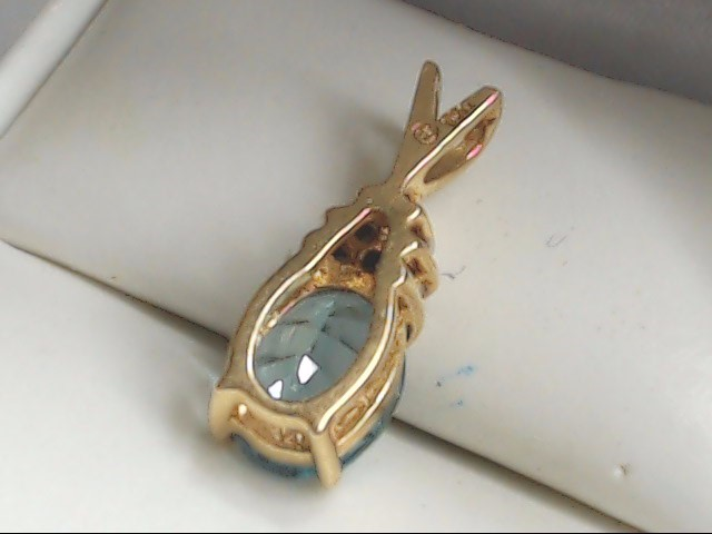 Blue Stone Gold-Diamond & Stone Pendant 6 Diamonds .06 Carat T.W.