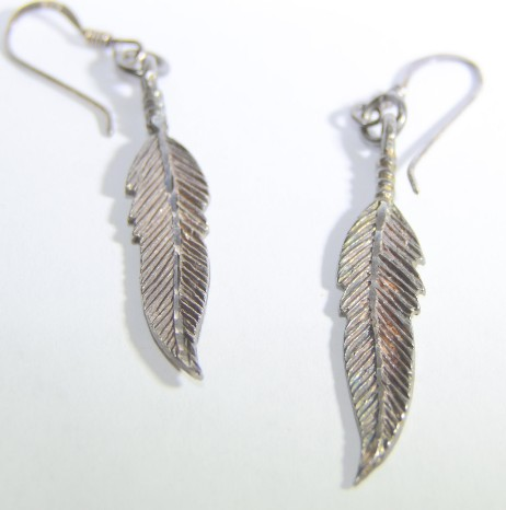 Sterling Silver Single Feather Drop Dangle Earrings *Natural Patina*