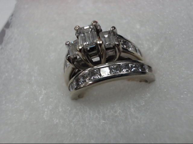 Lady's Diamond Wedding Set 3 Diamonds .75 Carat T.W. 14K White Gold 5.7dwt