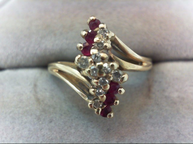 Ruby Lady's Stone & Diamond Ring 10 Diamonds .12 Carat T.W. 14K Yellow Gold