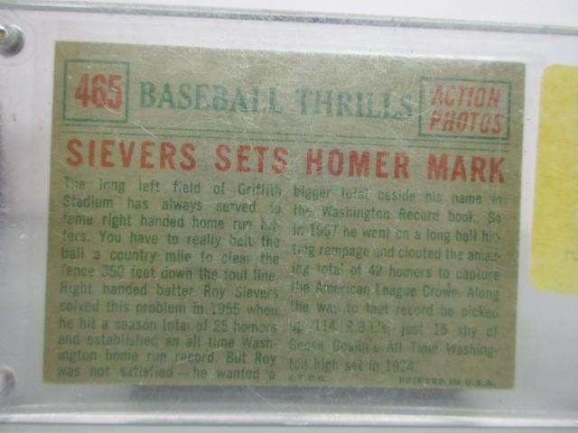 1959 #465 SIEVERS SETS HOMER MARK CARD Sports Memorabilia BASEBALL CARD 1959 SIE