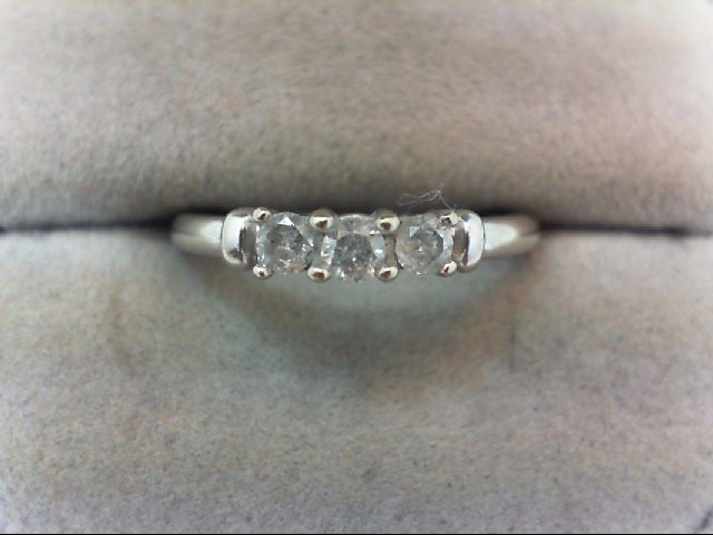 Lady's Diamond Wedding Band 3 Diamonds .22 Carat T.W. 10K White Gold 1.9g