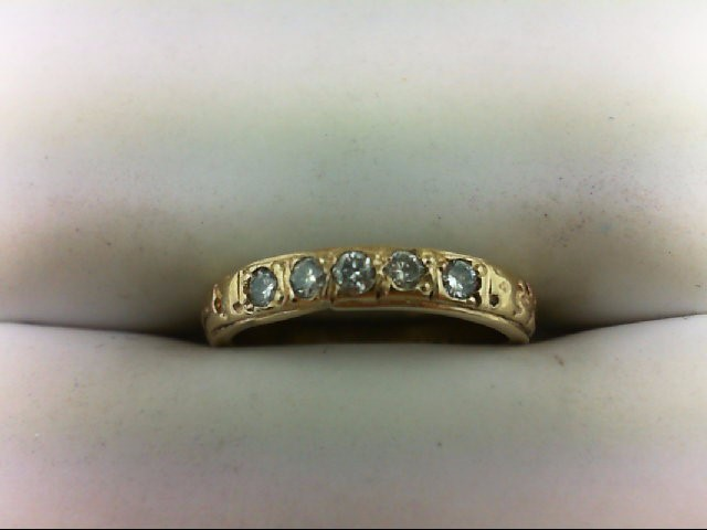 Lady's Diamond Wedding Band 5 Diamonds 0.15 Carat T.W. 14K Yellow Gold 2g Size:3