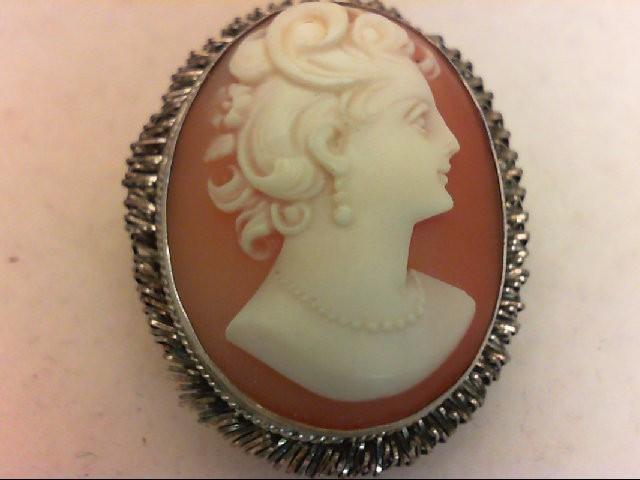 Cameo Silver-Stone Brooch 925 Silver 7.9g