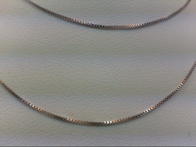 "17"" Gold Box Chain 14K White Gold 1g"