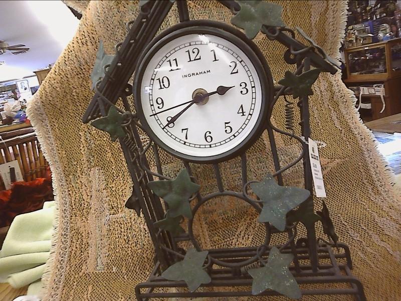 INGRAHAM CLOCK; IRON BIRD HOUSE WITH IVEY LEAVES