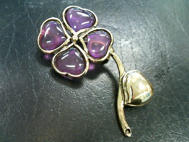 Unique Beautiful Flower Stainless Broach Pin Purple Glass Pedals 16.89 Grams