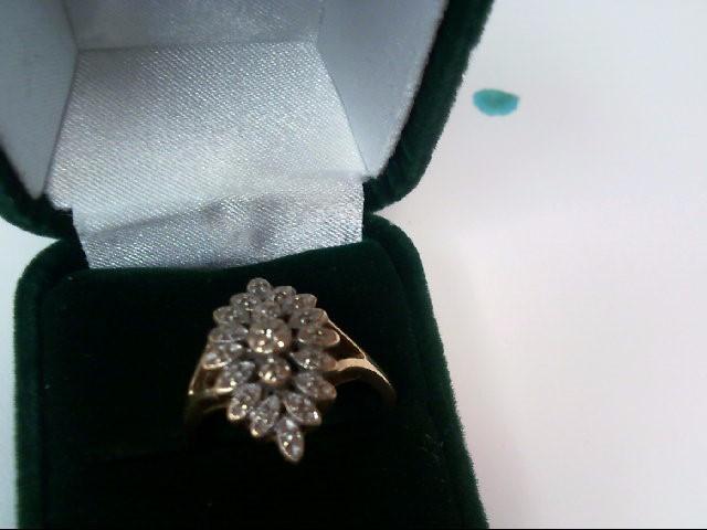Lady's Diamond Cluster Ring 20 Diamonds .20 Carat T.W. 10K Yellow Gold 2.7dwt