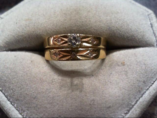 Lady's Diamond Wedding Set 6 Diamonds .17 Carat T.W. 14K Yellow Gold 4.2g