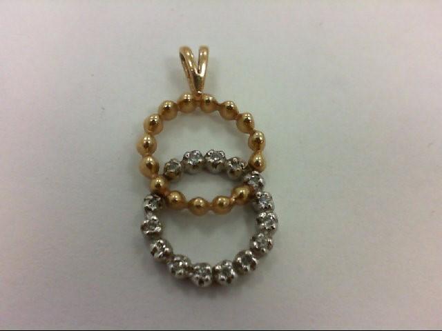 Gold-Multi-Diamond Pendant 15 Diamonds 0.15 Carat T.W. 14K 2 Tone Gold 1.7g
